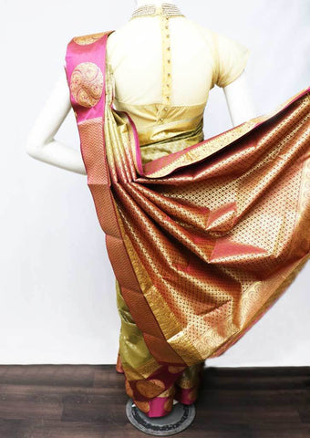 Cardamom with pink  Semi Silk Saree - FS5238 ARRS Silks