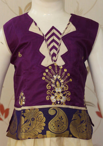 Violet with white Pattu Art Silk Pavadai