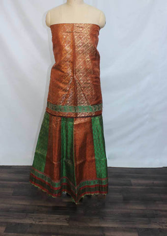 Chocolate Brown with Dark Green Coloured Pattu Pavadai Material - NO7099 (Size:  10Yrs to 13Yrs) ARRS Silks