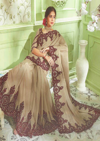 Chocolate brown with Maroon Designer Saree - FS31719 ARRS Silks