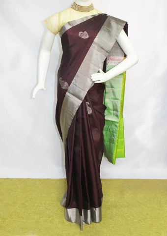 Chocolate Brown with Parrot Green Soft Silk Saree - FL87453 ARRS Silks