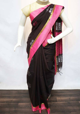 Coffee Brown with Pink Pure Silk Cotton Saree - FV10358 ARRS Silks