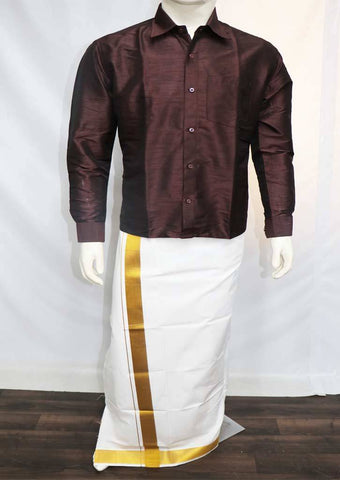Coffee Color Full Hand Silk Cotton Shirt - SAU1845 ARRS Silks
