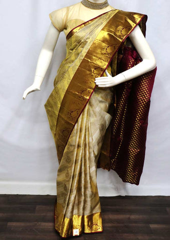 Cream With Naval Wedding Silk Saree - FV6922 ARRS Silks
