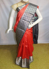 Crossandra Color with Gray Kanchipuram Silk Saree-FM83175 ARRS Silks
