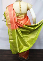 Crossandra Color with Parrot Green Soft Silk Saree - FU45176 ARRS Silks
