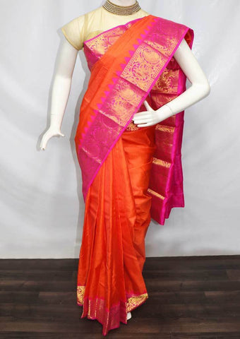 Crossandra with Pink  Kanchipuram Silk Saree -FS25077 ARRS Silks