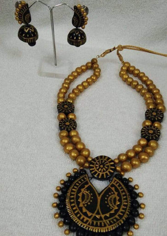Customized Terracotta  Jewellery Black Color ARRS Silks