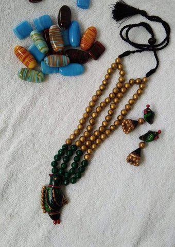 Customized Terracotta  Jewellery Golden and Green Color ARRS Silks