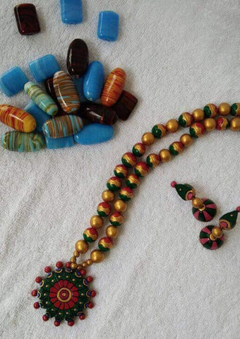 Customized Terracotta  Jewellery Green Color ARRS Silks