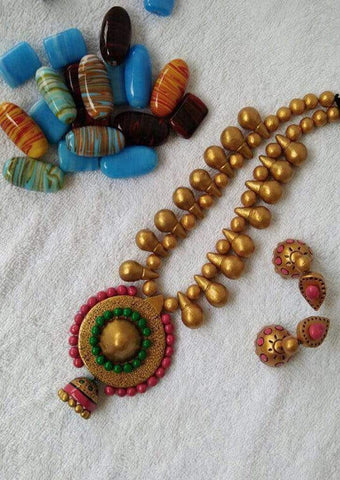 Customized Terracotta  Jewellery Red and Green Color ARRS Silks