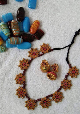 Customized Terracotta  Jewellery Red ARRS Silks