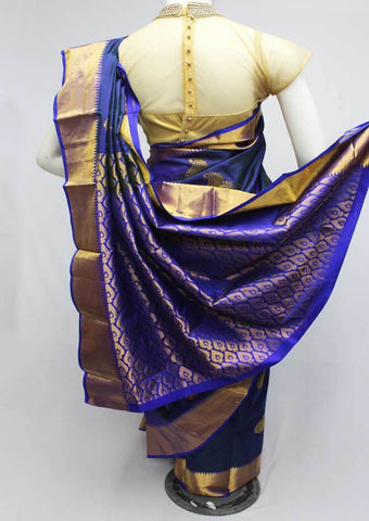 Dark Blue Kanchipuram Silk Saree-FQ111539 ARRS Silks