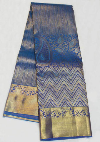 Dark Blue Wedding Silk Saree - EX3627 ARRS Silks