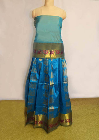 Dark Blue With Green Pure silk pavadai - FF17506 ARRS Silks