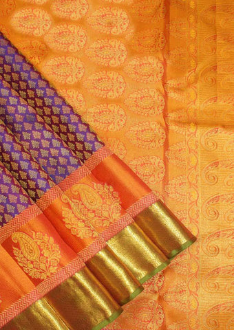 Dark Blue with Orange Wedding Silk Saree - 9KA120 ARRS Silks