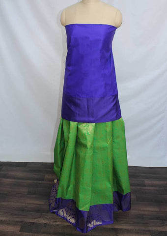 Dark Blue with Parrot Green Coloured Pattu Pavadai Material - FP4362 (Size:  13Yrs to 18Yrs) ARRS Silks