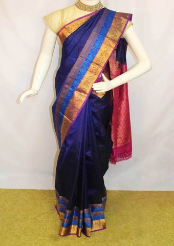 Dark Blue with Pink  Kanchipuram Silk Saree-FM92133 ARRS Silks