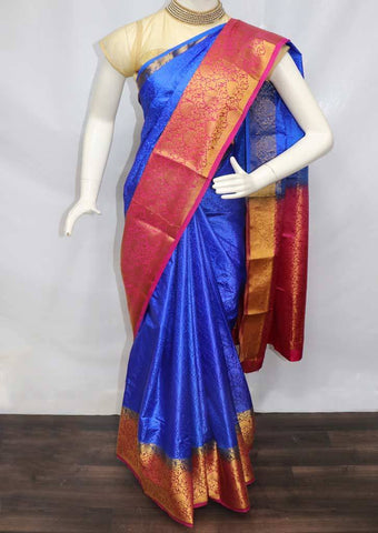 Dark Blue with Pink Semi Raw Silk Saree - FT16540 ARRS Silks