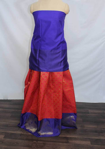 Dark Blue With Red Coloured Pattu Pavadai Material - FP4370 (Size:  13Yrs to 18Yrs) ARRS Silks