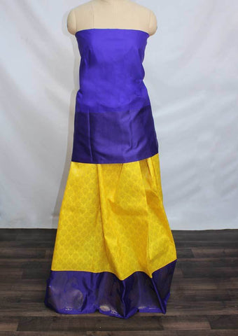 Dark Blue With Yellow Coloured Pattu Pavadai Material - FP4375 (Size:  13Yrs to 18Yrs) ARRS Silks