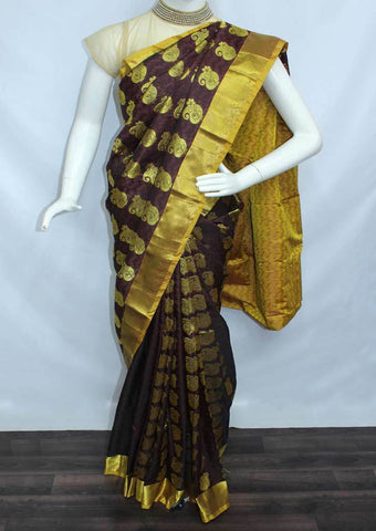 Dark Brown With Yellow Semi Silk Saree- FL6680 ARRS Silks