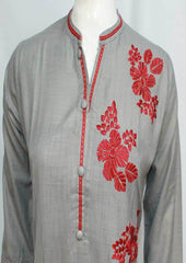 Dark Gray Colour and Embroidery Rayon Crep Kurti - FO75710 ARRS Silks