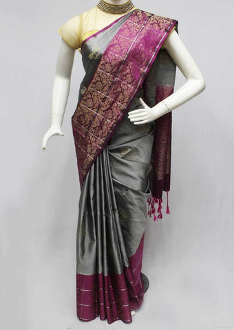 Dark Gray Soft Silk Saree -FQ110844 ARRS Silks