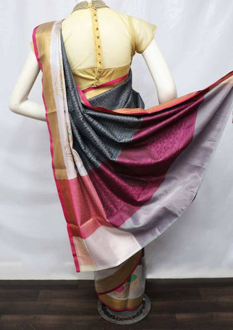 Dark Gray with Pink Organza Cotton Sarees- FV9932 ARRS Silks