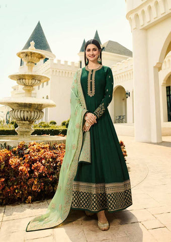 Dark Green Long Anarkali Raw Silk Grand Chudi Material-FQ92988 ARRS Silks