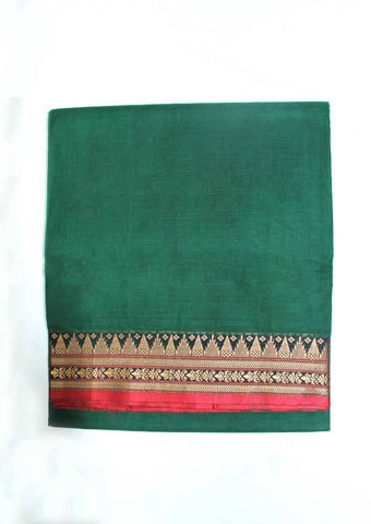 Dark Green Pure Cotton 9.5 yards Saree - F096397 ARRS Silks