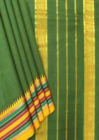 Dark Green Pure Cotton 9.5 yards Saree - FP54191 ARRS Silks