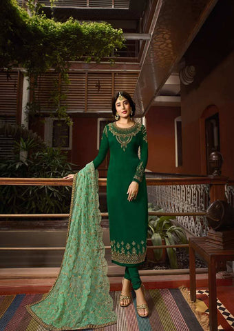 Dark Green Satin Georgette Grand Chudi Material -FQ67190 ARRS Silks