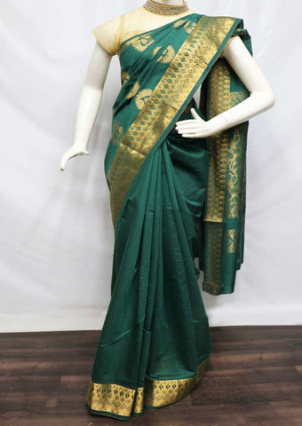 Dark Green Silk Cotton Saree - FZ10019 ARRS Silks