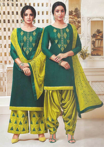 Dark Green Unstitched Chudi - FR87543 ARRS Silks