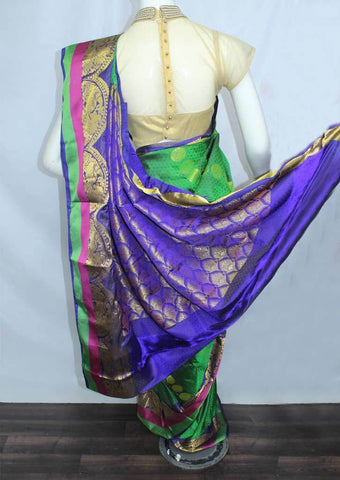 Dark Green with Dark Blue Semi Silk Saree- FH174 ARRS Silks