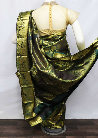 Dark Green With Golden Wedding Silk Saree - EH17855 ARRS Silks