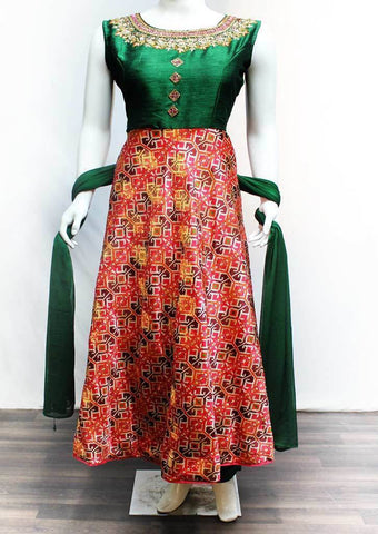 Dark Green with Multi Color Readymade Salwar-FR118314 ARRS Silks