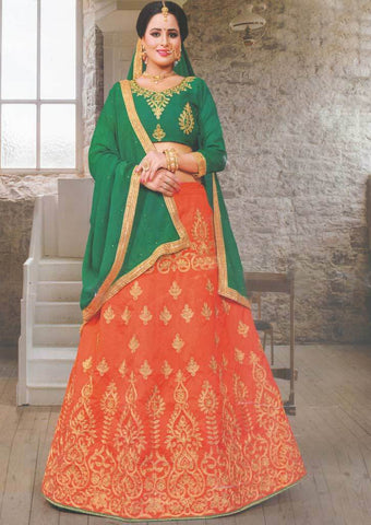 Dark green with Orange Lehenga - FS20688 ARRS Silks