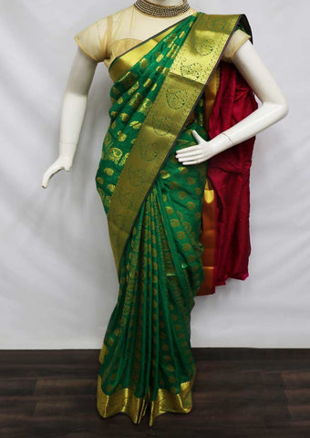 Dark Green With Pink semi silk saree  - GB86150 ARRS Silks