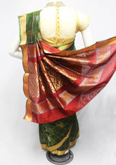 Dark Green with Pink Silk Cotton Saree - FR29186 ARRS Silks