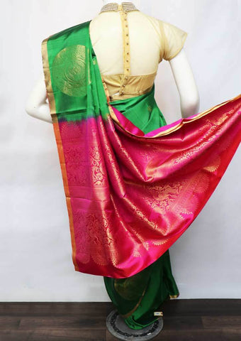 Dark Green With Pink Soft Silk Saree - FU45290 ARRS Silks