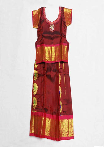 Dark Maroon Pure silk Stitched pattu pavadai - FU681 ( Age-1 year and below)