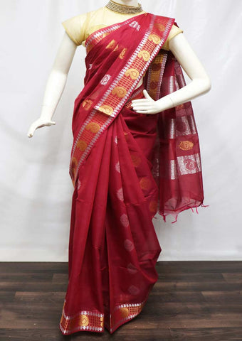 Dark Maroon Silk Cotton Saree - 9KB460 ARRS Silks