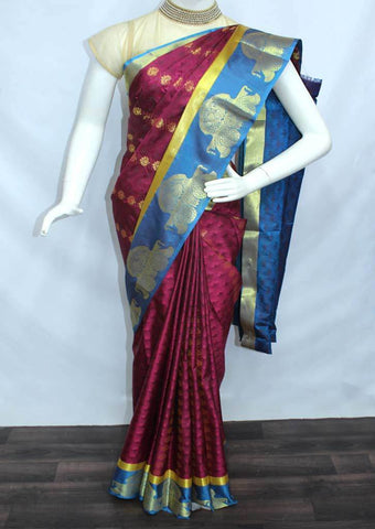 Dark Maroon with Blue Semi Silk Saree- FL6632 ARRS Silks