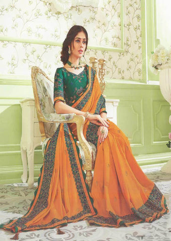 Dark mustard Orange with Green Designer Saree - FS31703 ARRS Silks