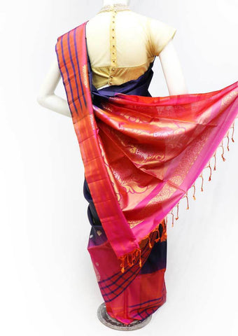Dark Navy Blue with Pink Soft Silk Saree - 9KA815 ARRS Silks