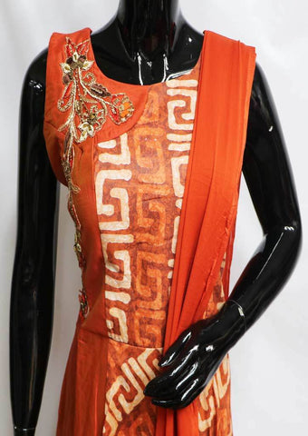 Dark Orange Readymade Salwar- FF28615 ARRS Silks