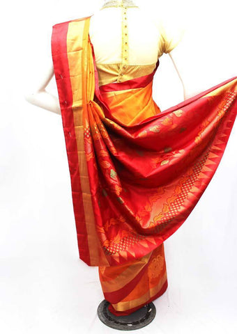Dark Orange Soft Silk Saree -FQ38953 ARRS Silks
