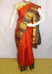 Dark Orange With Green  Kanchipuram Silk Saree-FM92692 ARRS Silks